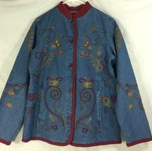 Denim & Co. Jean Jacket Embroidered Blue Floral Nehru 100% Cotton XS X-S... - $23.04