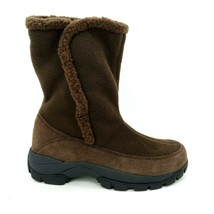 Lands End Womens 87862 Sherpa Marinac Ankle Boots Pull On Dark Teak Brow... - $54.44