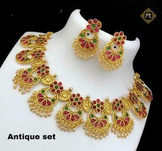 Latest South Indian 22k Gold Plated Raani Choker Necklace Earring Set Fashion - $32.00
