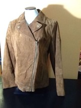 Isaac Mizrahi Suede Motorcycle Jacket Chestnut Size 12 NWOT, Floral Lining - $76.66