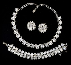 Vintage Statement Rhodium Plated Rhinestone Necklace Bracelet Earrings D... - $118.79
