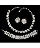 Vintage Statement Rhodium Plated Rhinestone Necklace Bracelet Earrings D... - $118.79