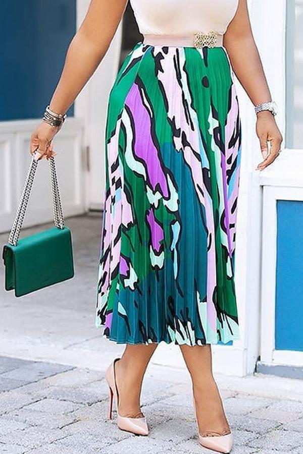 Casual Print Ankle Length A Line Skirts