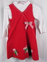 Rare Too girl's 6 red white Christmas candy cane 2-piece shirt jumper dress - $9.89