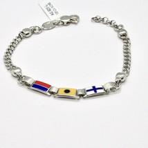 Bracelet en Argent 925 Rhodié avec Drapeaux Nautique Émaillés Fabriqué en Italy image 2