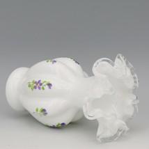 Vintage Fenton Art Glass Silver Crest Violets in the Snow Melon Rib Vase image 2