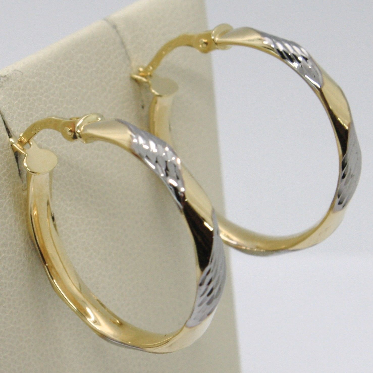 18K YELLOW WHITE GOLD PENDANT CIRCLE HOOPS TWISTED WORKED EARRINGS, ITALY MADE