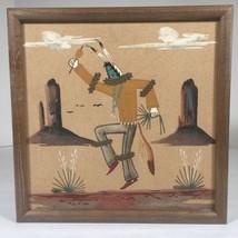 """Navajo Native American Sand Painting Ernest Hunt Eagle Dancer Framed 13""""... - $24.99"""