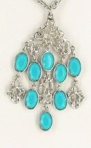 Vintage Designer Faux Persian Turquoise Rs Chandelier Dangle Drop Necklace - $125.99