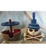 skull soap dispenser pirate ship toothbrush holder kids  - $24.65