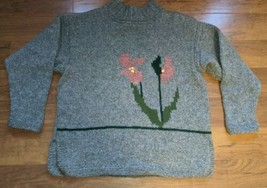 Women's Homemade Handmade Vintage Wool Sweater Mock Neck Floral Large (?... - $59.39
