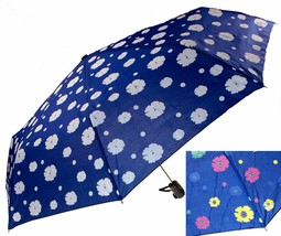 """Color Changing Umbrella Blue 42"""" Rain Stoppers Floral Flowers Auto Open ... - $20.49"""