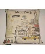 "Cynthia Rowley New York City Skyline Off White Black Pink 18"" x 18"" Thro... - $79.19"