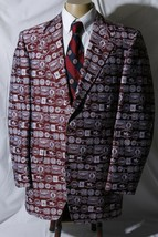 Vtg 1974 Alan Zimm Custom Tailored Men's Red White Sport Coat Jacket Bla... - $197.95