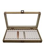 Burlap Dark Beige Metal Clasp  PEN CASE BOX ORGANIZER Antique PEN COLLEC... - $41.95