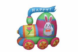 4 Foot Long Easter Air Blown Inflatable Bunny on Colorful Train Yard Dec... - $75.00