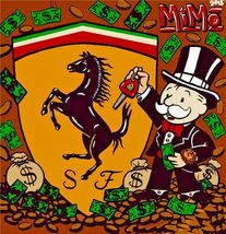 "Alec Monopoly Print on Canvas Urban art wall decor Racing Ferrari 28x28"" - $32.21"