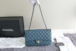 AUTHENTIC CHANEL TURQUOISE BLUE LAMBSKIN MEDIUM DOUBLE FLAP BAG GOLD HW RARE