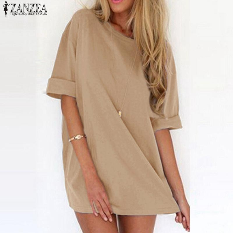 Nzea women sexy mini dress 2018 summer ladies casual loose short sleeve solid beach dresses plus