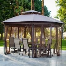 Garden Gazebo Canopy Large Outdoor 10 x 12 Feet with Netting Sun Shade C... - $325.60