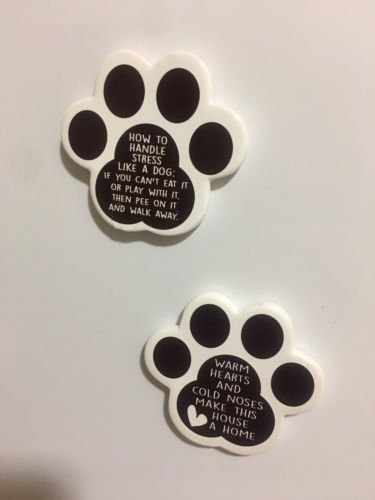 2 Pet Theme White Paws Kitchen Magnet Dog Lover Host Gift Free Shipping