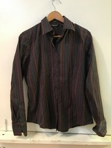 Eddie Bauer Blouse Womens Size M Stretch Wrinkle Resistant Long Sleeve Stripes - $14.95