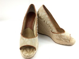 MICHAEL KORS Womens Wedges 7.5 Tan Cabana Peep Toe Platform Espadrilles ... - $59.22