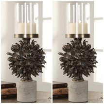 "Two 20"" Cast Hawaiian Tree Pod Pillar Candle Holder Concrete Base Glass Globe - $374.00"