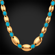 Necklaces Summer lace 18K Real Gold Plated Gift Synthetic Turquoise Stone lace N - $23.99
