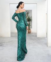 Long Sleeve Reflective Green Sequin Off Shoulder Retro Maxi Dress image 3