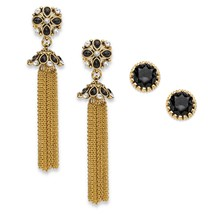 "PalmBeach Jewelry Black Crystal Gold Tone 2-Pair Stud and Tassel Earrings Set 3"" - $14.00"