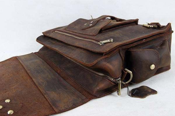Sale, Leather Men Briefcase, Laptop Bag, Vintage CrossBody Bag, Messenger Bag image 4