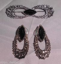 Vintage Silver Tone Faux Marcasite Black Plastic Rhinestone Pin Brooch E... - $14.85