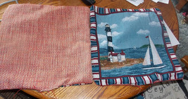 Pair of Blue Red Lighthouse Print Decorative Throw Pillows  16 x 16 - $49.95