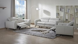 J&M Lorenzo Modern White Premium Italian Leather Recliner Sofa Set 3 Pcs - $5,099.00