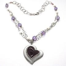 925 Silber Halskette, Amethyst, Achat Weiß, Herz Anhänger, Kette Zwei Reihen image 1