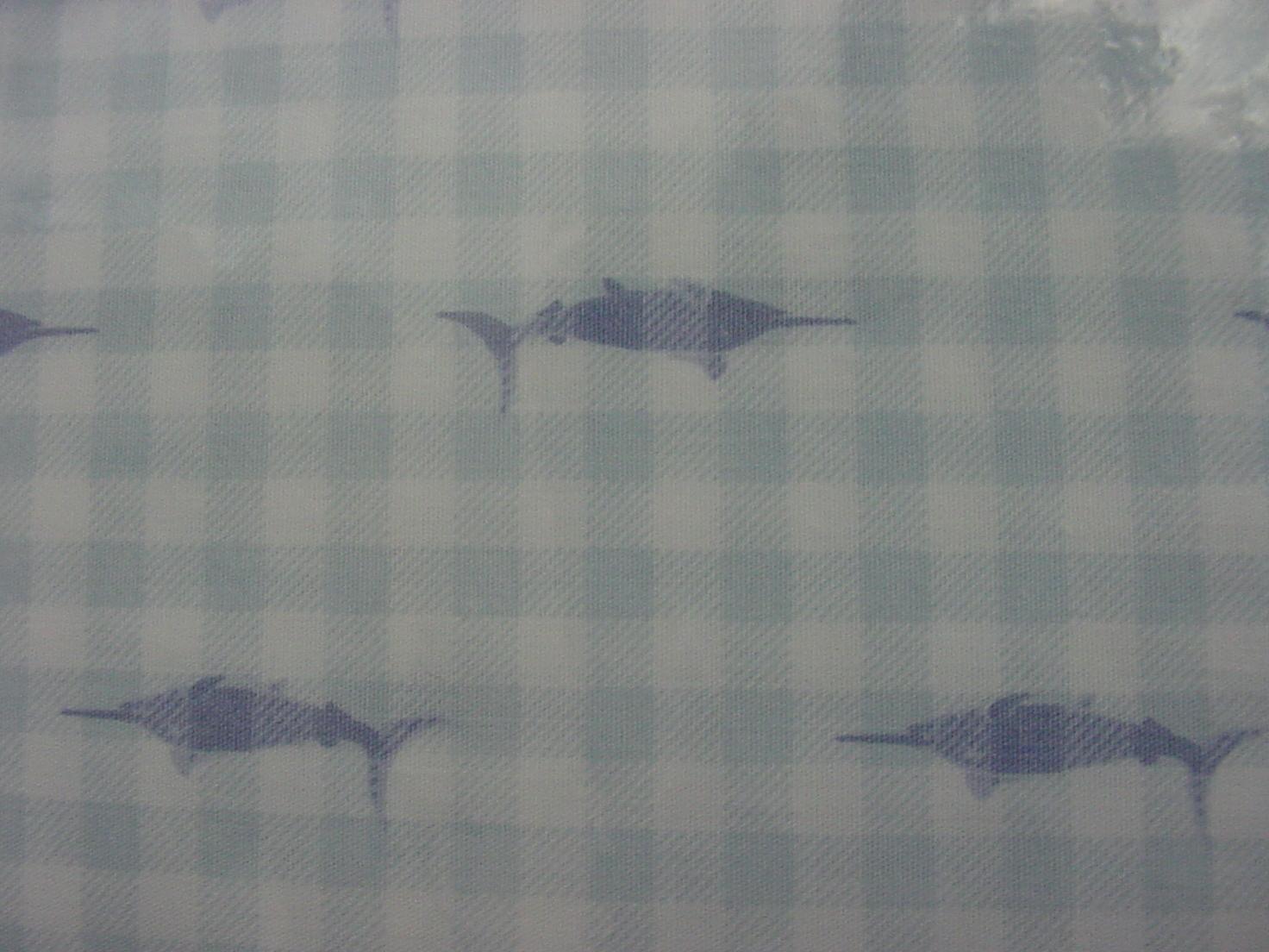 Envogue Blue Swordfish Fish Marlins on Blue Gingham Check Sheet Set Full