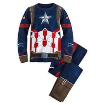New Disney Store Deluxe Captain America Costume Pajama PJ Sz 7 - $479,43 MXN