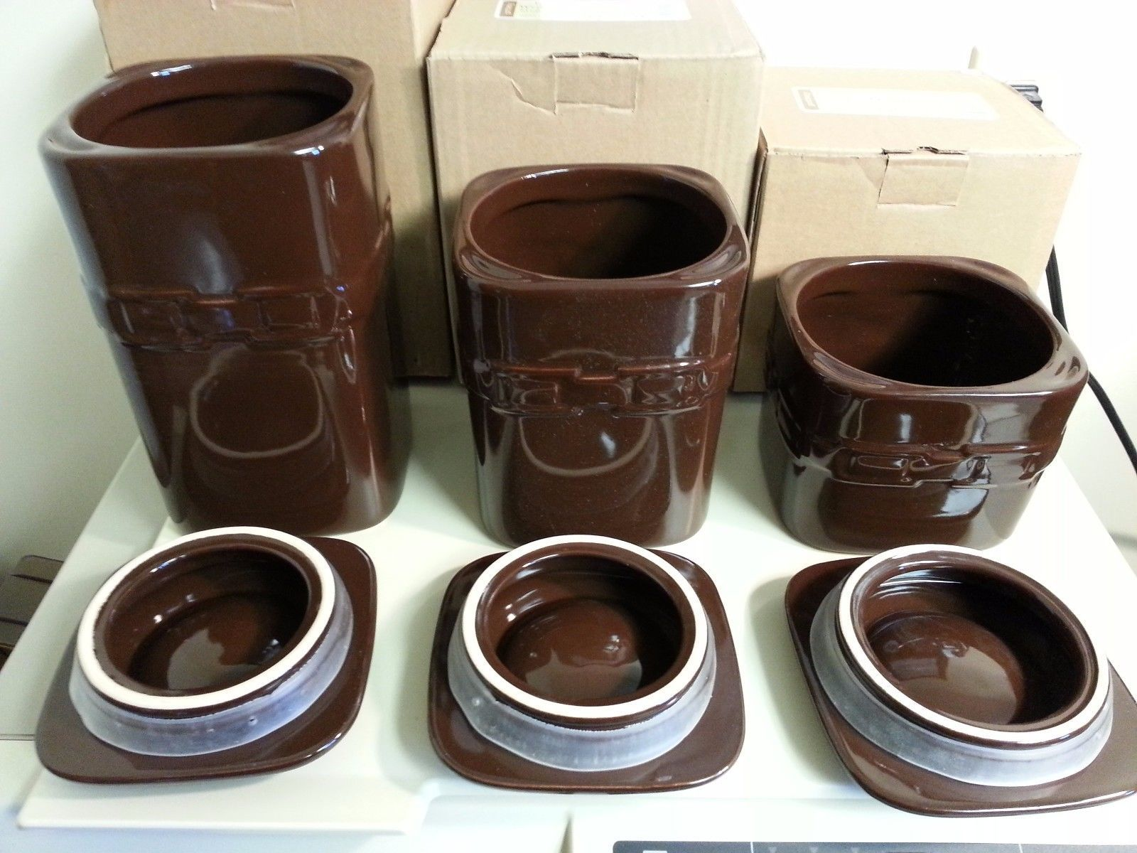 Longaberger Canister Set of 3 Chocolate Brown Pottery New