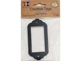 Creative Tags Large Nameplate Frame Tags, Black Metallic, Set of 10 #TAG03095
