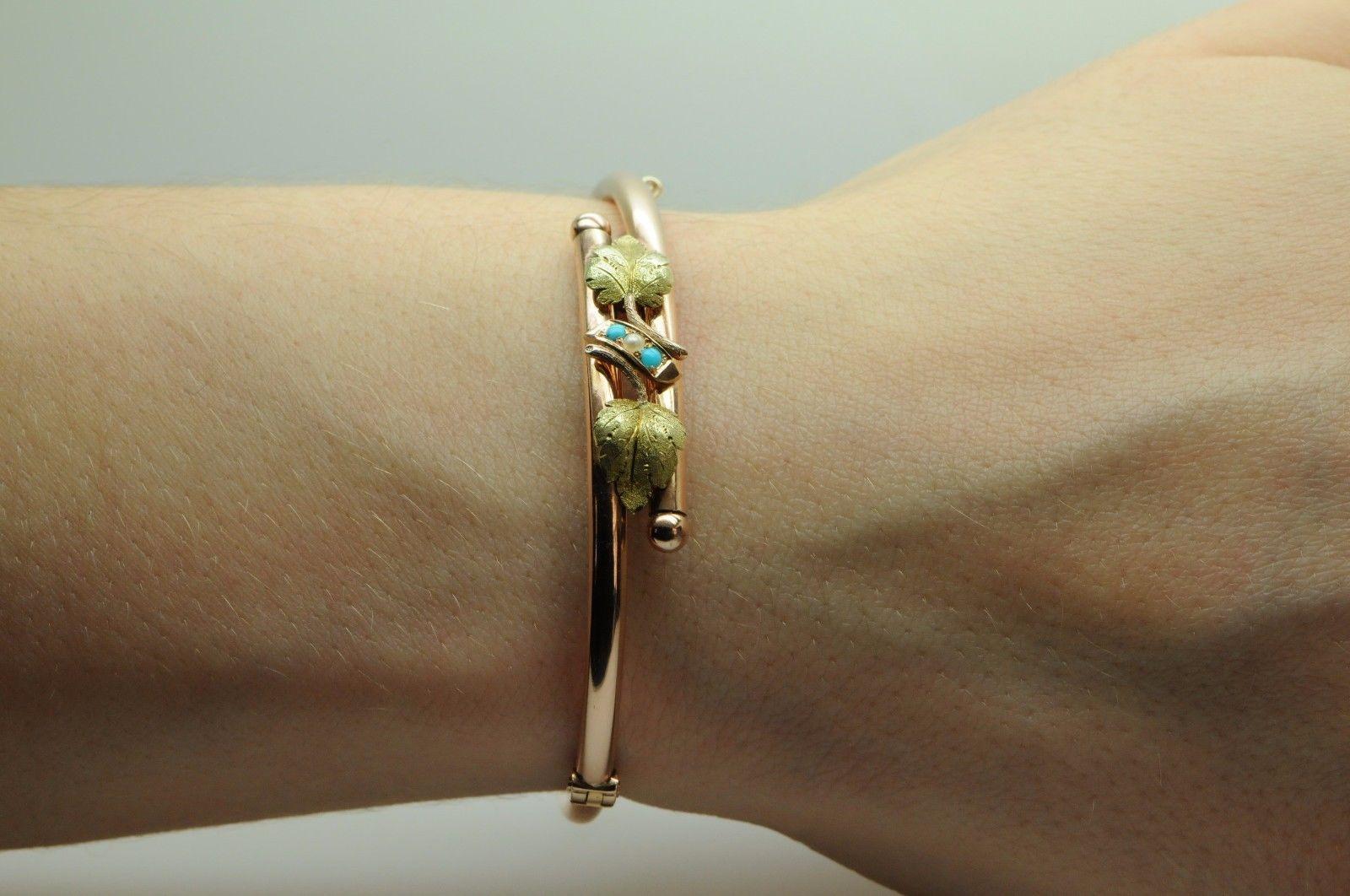"Vintage (ca. 1890), 14K Rose & Yellow Gold, Turquoise & Pearl Bracelet (6"")"