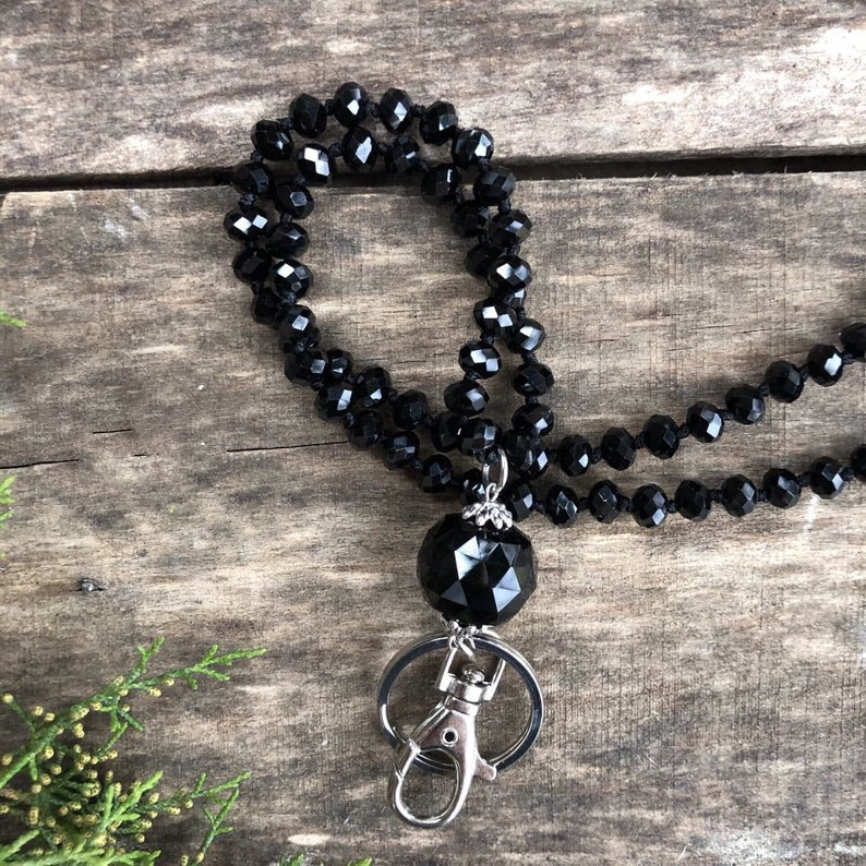 Lanyard,Long Knotted Crystal Lanyards Elegant Black Banded Agate Necklace SET04