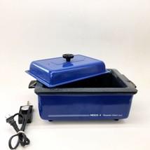 VTG Nesco 4 Quart Roaster Oven Colbolt Blue Metal Enamel Speckles USA Wi... - $23.75