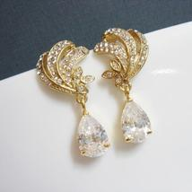 Gold Vintage Earrings - Old Hollywood Style Bridal Jewelry - $47.00
