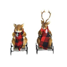 Polystone Milu Deer and Squirrel Statue on Sled Christmas Ornament Resin... - $24.57