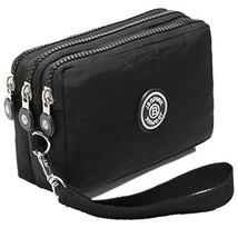 Three Layer Zipper Purse Waterproof Nylon Wallet Handbag Cell Phone Pouch (red) - $24.84