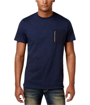 American Rag Cie Men's Zippered Chest Pocket Speckled Navy Tee, Size Large - $15.83
