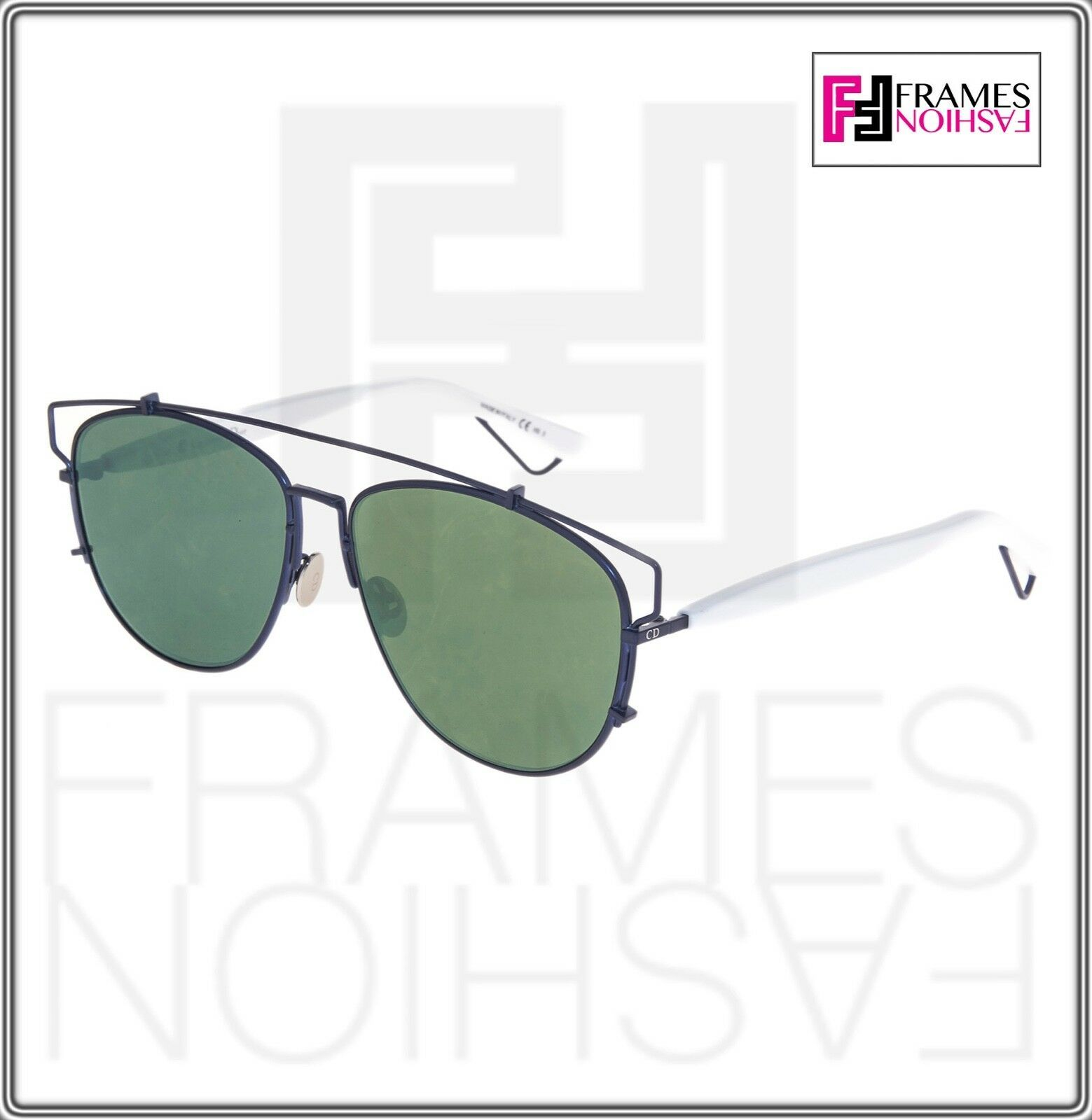 CHRISTIAN DIOR TECHNOLOGIC White Navy Blue Green Flat Mirrored Sunglasses Unisex