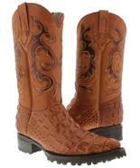 Mens Cognac Biker Crocodile Pattern Leather Boots Cowboy Motorcycle J Toe - £102.63 GBP