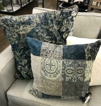 Pottery Barn Claudine Pillow Cover Indigo Multi 24 Muted Farmhouse Blue New - $54.00
